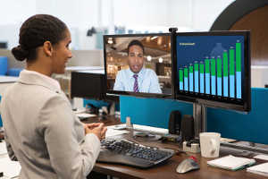 Click for large view of Polycom RealPresence Desktop Software showing graphics on a MAC desktop.