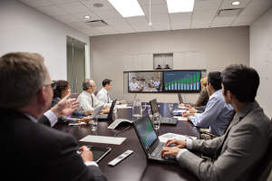 View of a Polycom RealPresence Group Series System with EagleEye Director in use.